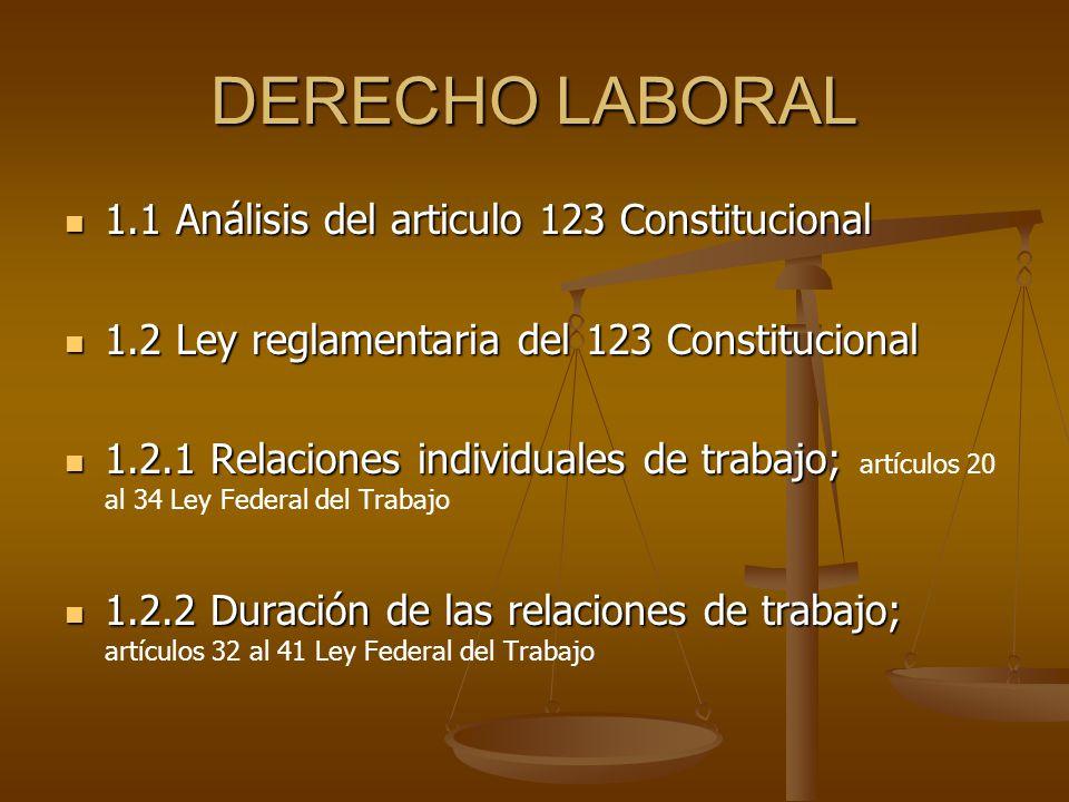 DERECHO LABORAL 1.1 Análisis del articulo 123 Constitucional