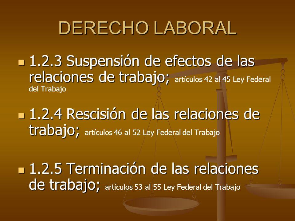 DERECHO LABORAL 1.2.3 Suspensión de efectos de las relaciones de trabajo; artículos 42 al 45 Ley Federal del Trabajo.