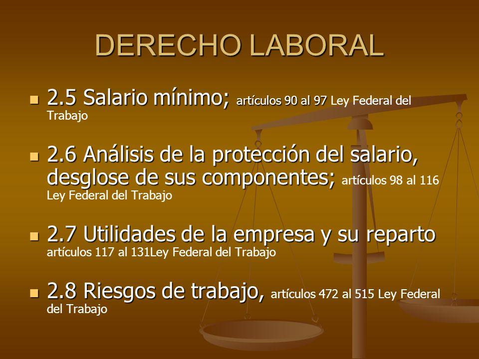 DERECHO LABORAL 2.5 Salario mínimo; artículos 90 al 97 Ley Federal del Trabajo.