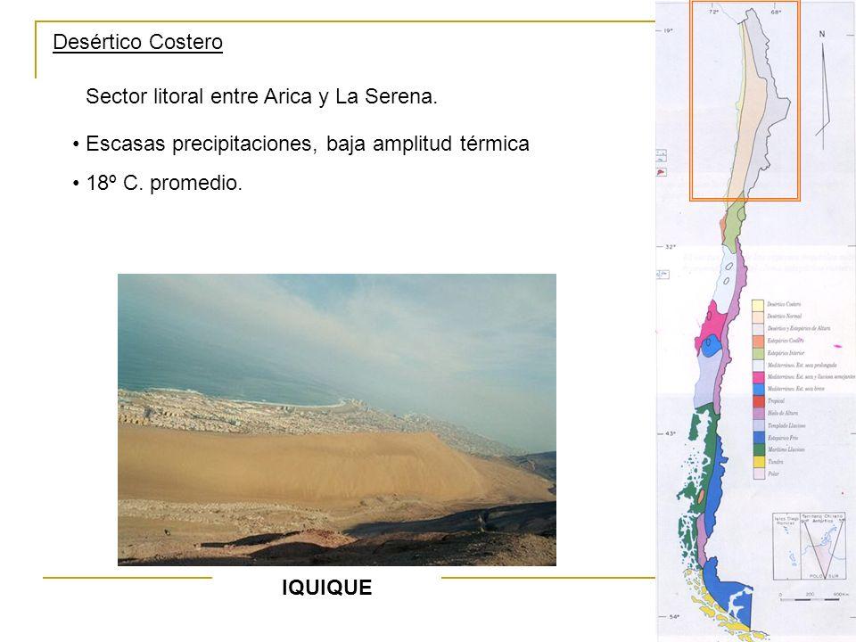 Desértico Costero Sector litoral entre Arica y La Serena. Escasas precipitaciones, baja amplitud térmica.