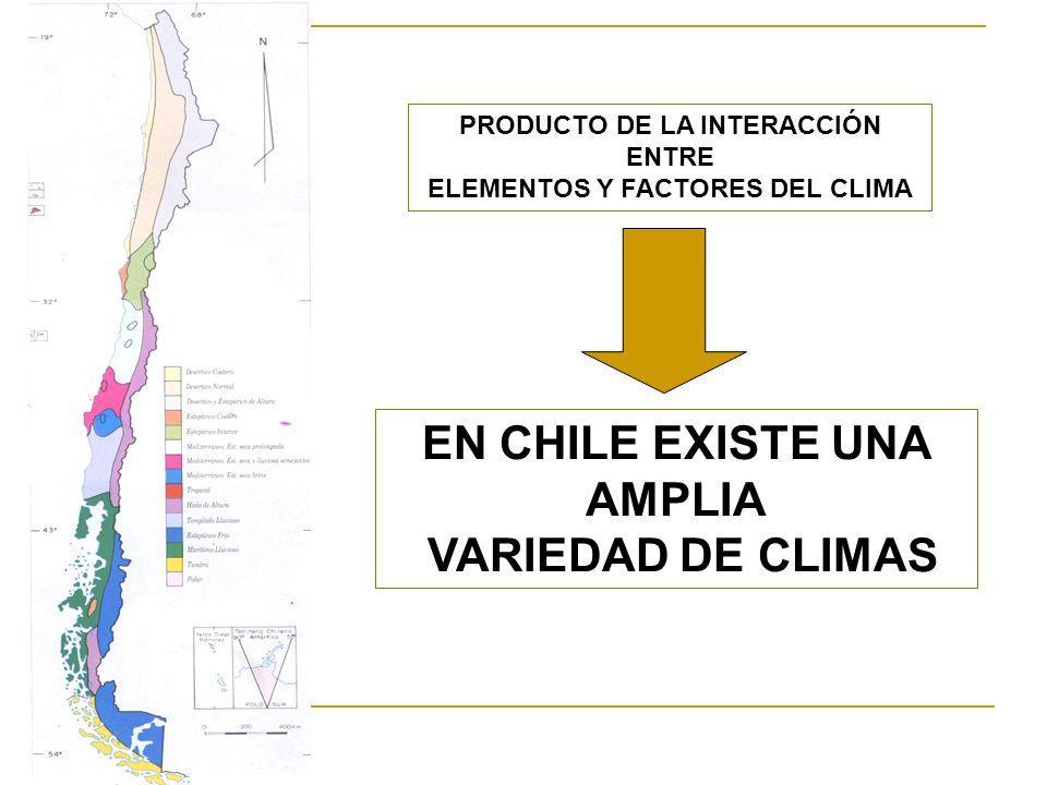 EN CHILE EXISTE UNA AMPLIA VARIEDAD DE CLIMAS