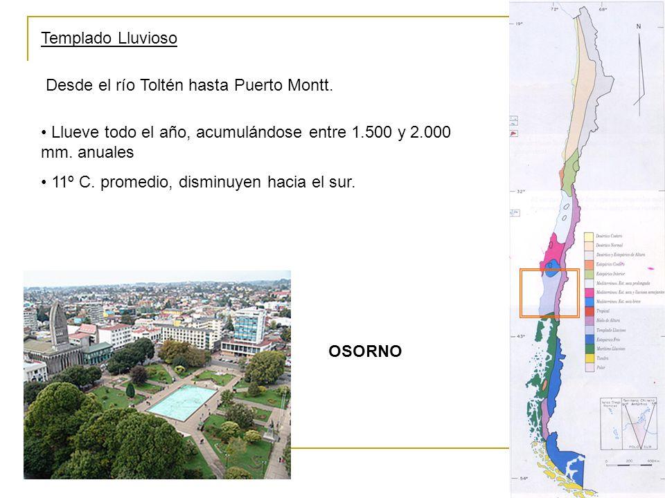 Templado Lluvioso Desde el río Toltén hasta Puerto Montt. Llueve todo el año, acumulándose entre 1.500 y 2.000 mm. anuales.