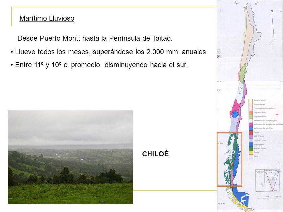 Marítimo Lluvioso Desde Puerto Montt hasta la Península de Taitao. Llueve todos los meses, superándose los 2.000 mm. anuales.