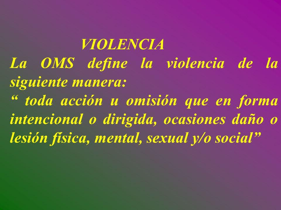 VIOLENCIA La OMS define la violencia de la siguiente manera: