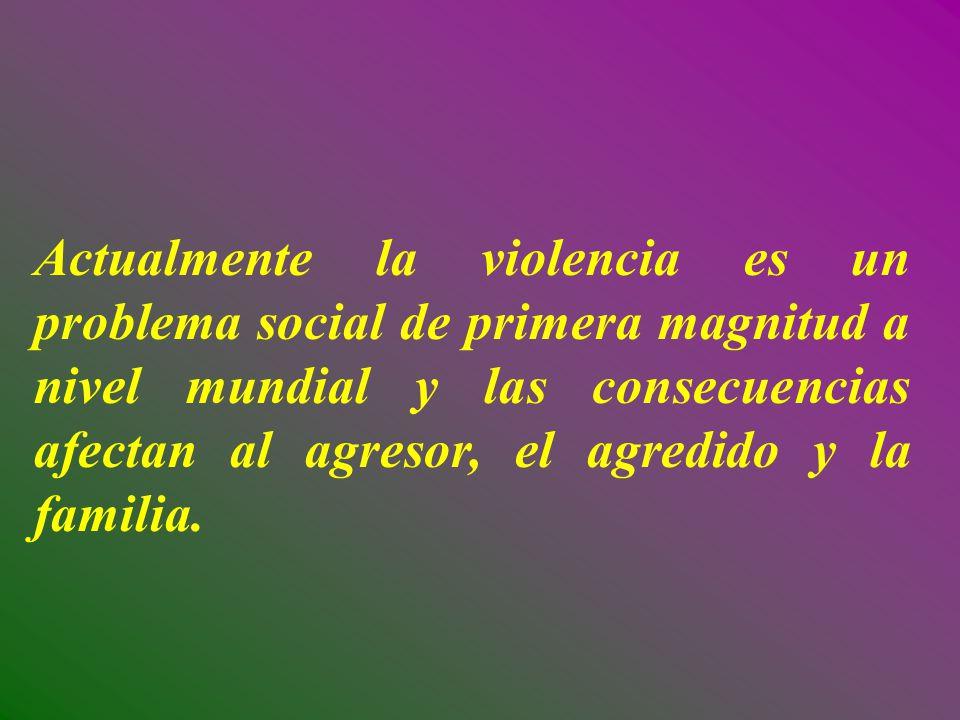 Actualmente la violencia es un problema social de primera magnitud a nivel mundial y las consecuencias afectan al agresor, el agredido y la familia.