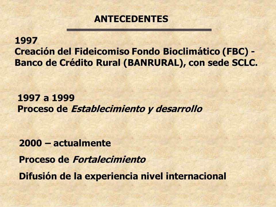 ANTECEDENTES 1997. Creación del Fideicomiso Fondo Bioclimático (FBC) - Banco de Crédito Rural (BANRURAL), con sede SCLC.