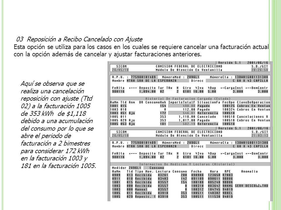 03 Reposición a Recibo Cancelado con Ajuste