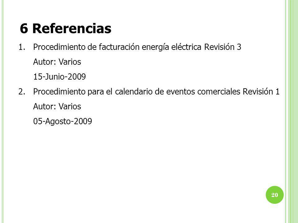 6 Referencias 1. Procedimiento de facturación energía eléctrica Revisión 3. Autor: Varios. 15-Junio-2009.