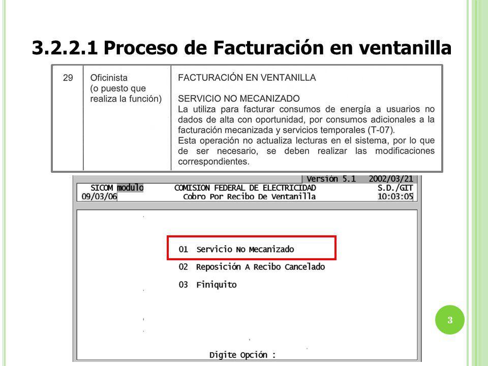 3.2.2.1 Proceso de Facturación en ventanilla