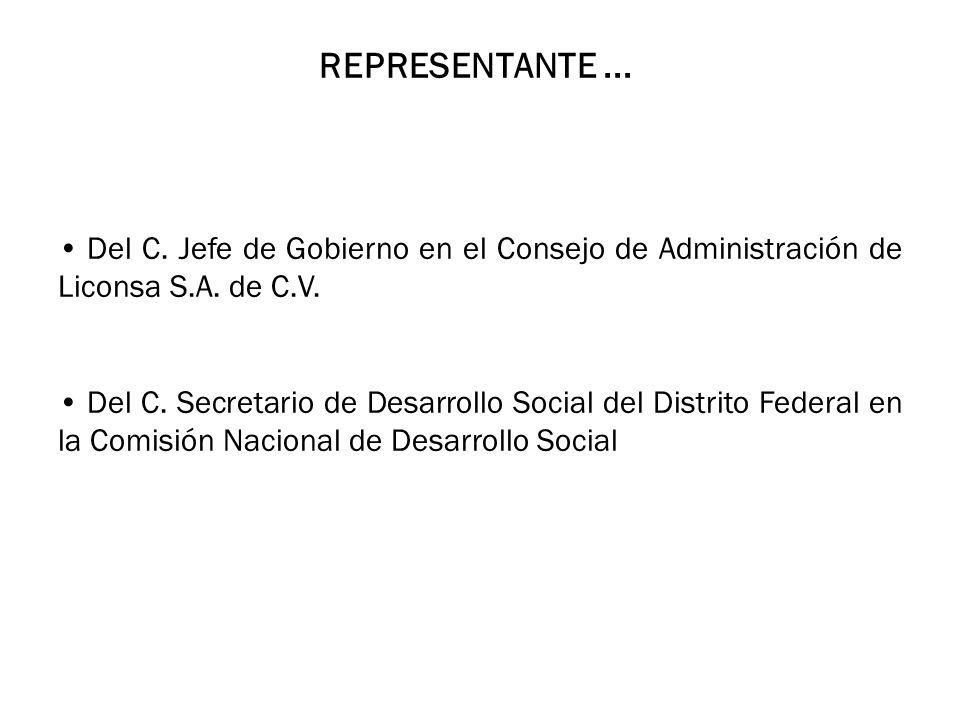 REPRESENTANTE ... Del C. Jefe de Gobierno en el Consejo de Administración de Liconsa S.A. de C.V.