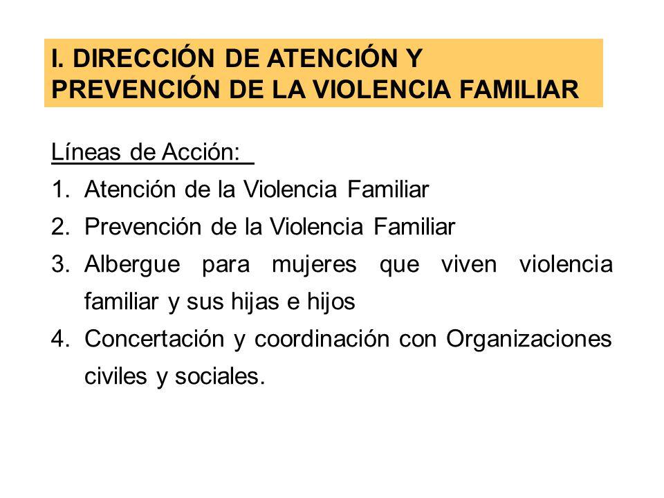 I. DIRECCIÓN DE ATENCIÓN Y PREVENCIÓN DE LA VIOLENCIA FAMILIAR