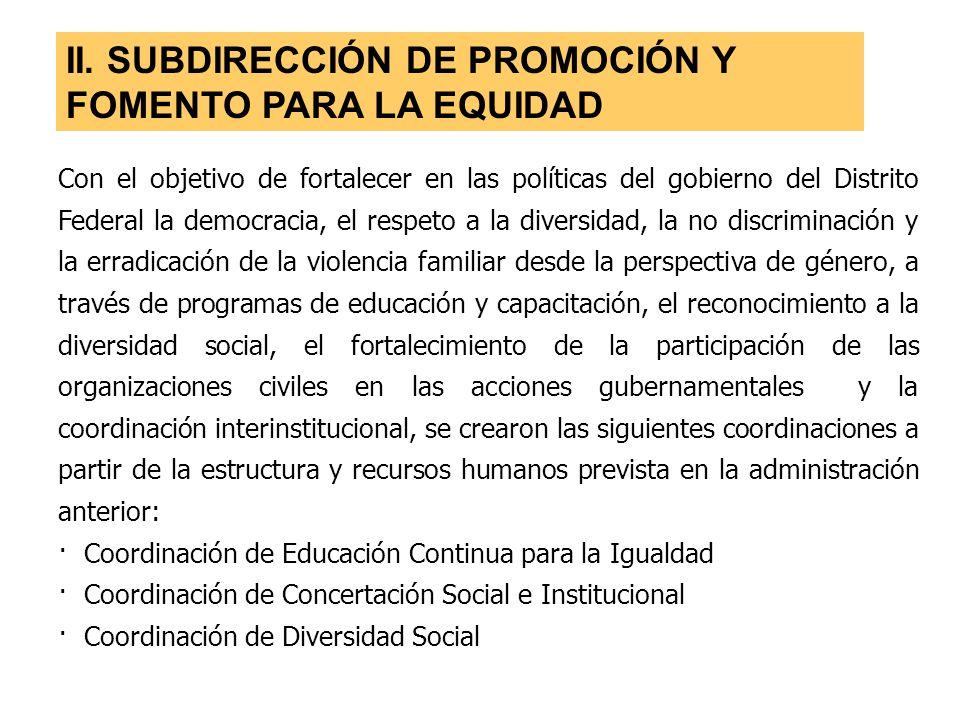 II. SUBDIRECCIÓN DE PROMOCIÓN Y FOMENTO PARA LA EQUIDAD