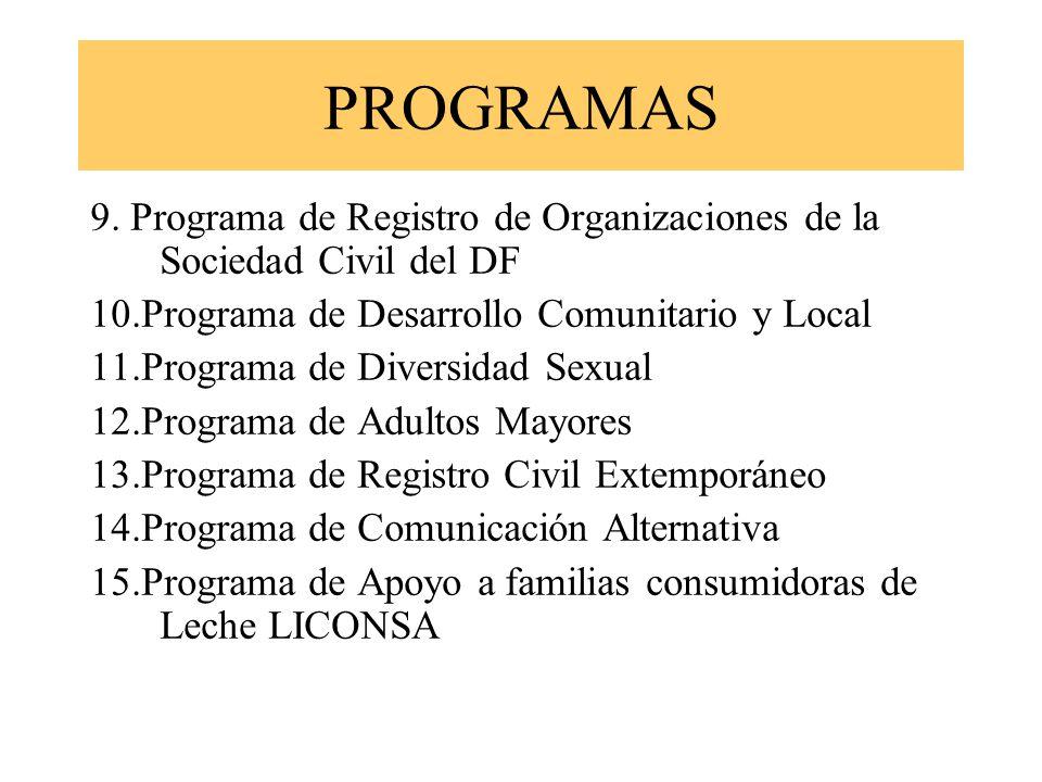 PROGRAMAS 9. Programa de Registro de Organizaciones de la Sociedad Civil del DF. 10.Programa de Desarrollo Comunitario y Local.