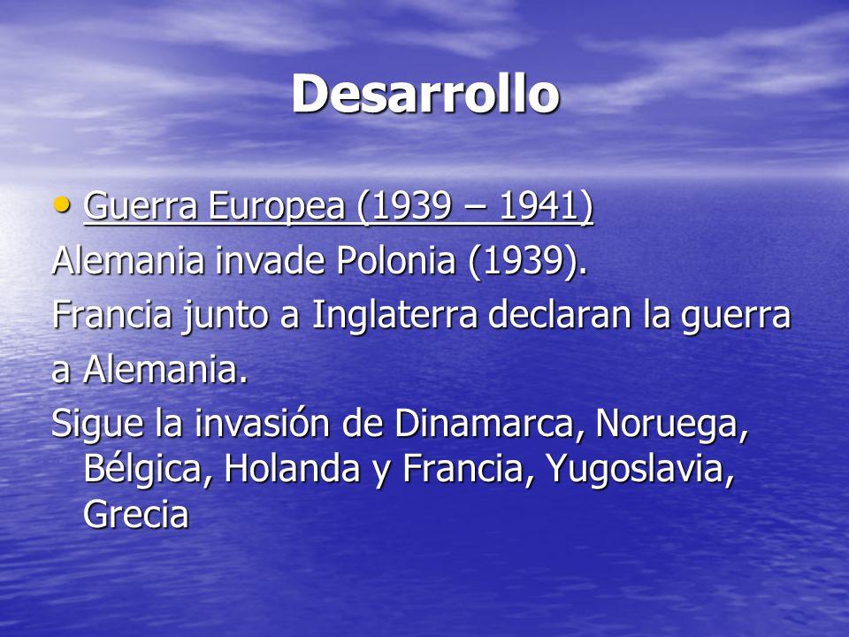 Desarrollo Guerra Europea (1939 – 1941)