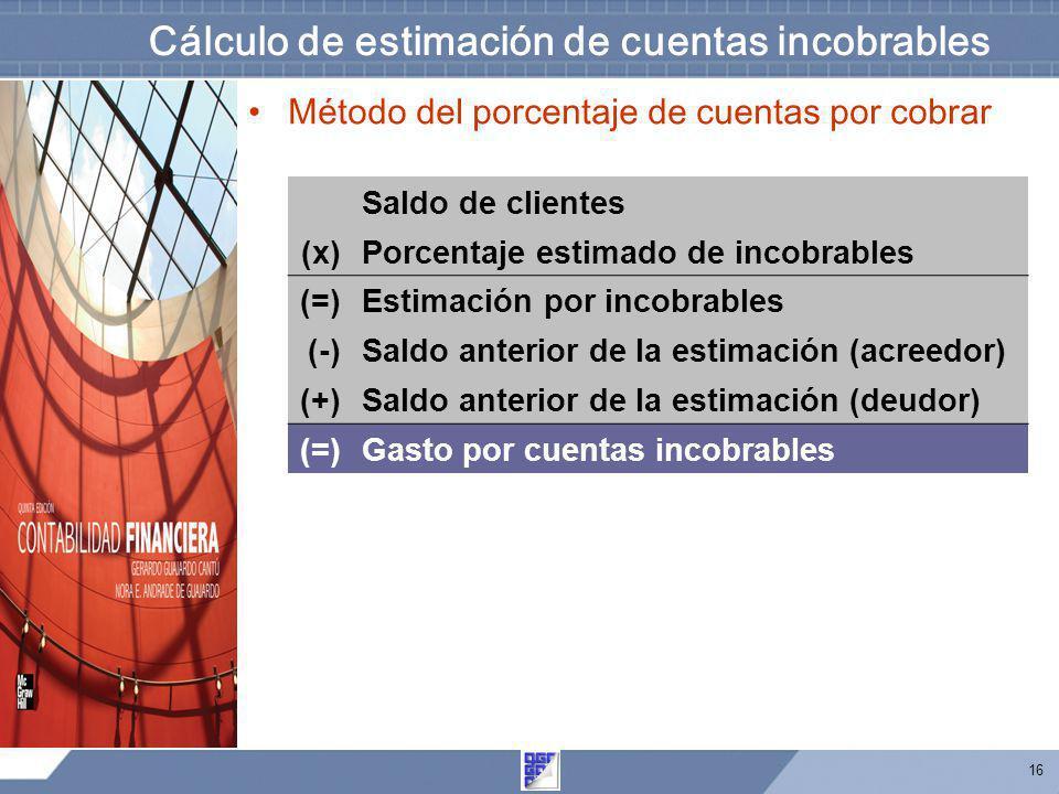 Cálculo de estimación de cuentas incobrables