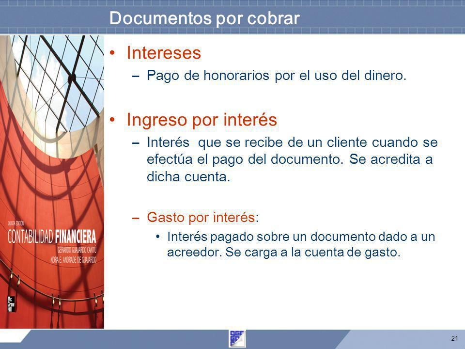 Documentos por cobrar Intereses Ingreso por interés