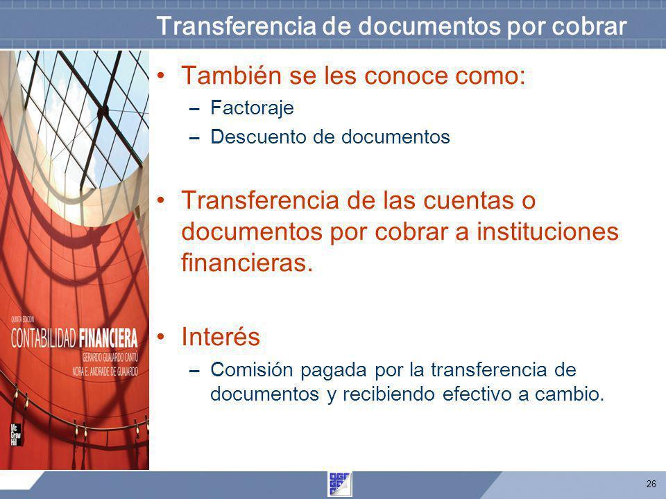 Transferencia de documentos por cobrar