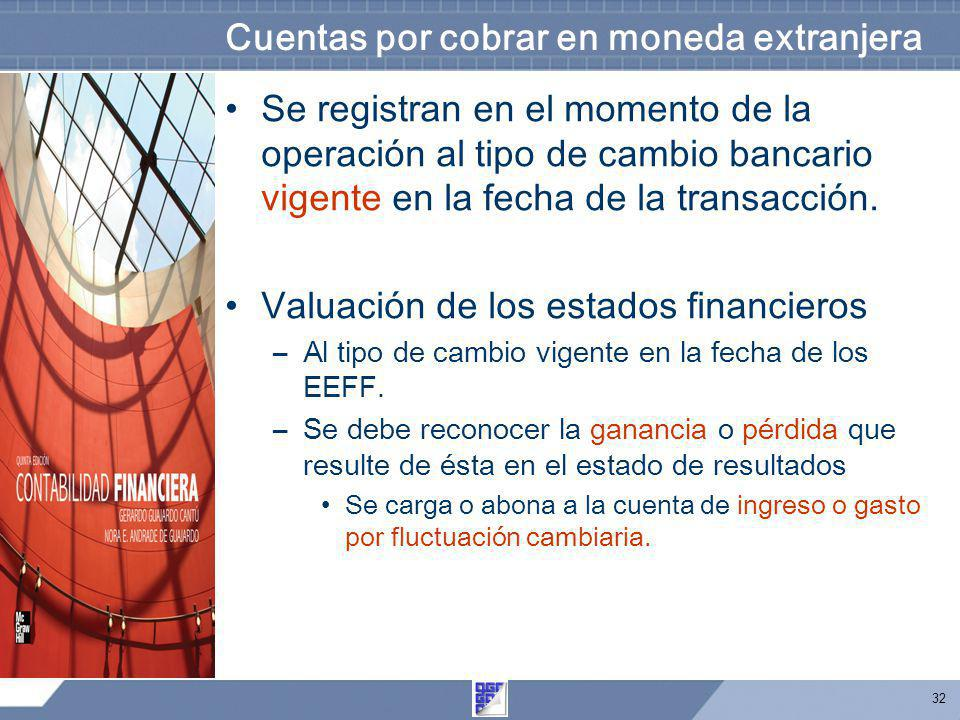 Cuentas por cobrar en moneda extranjera