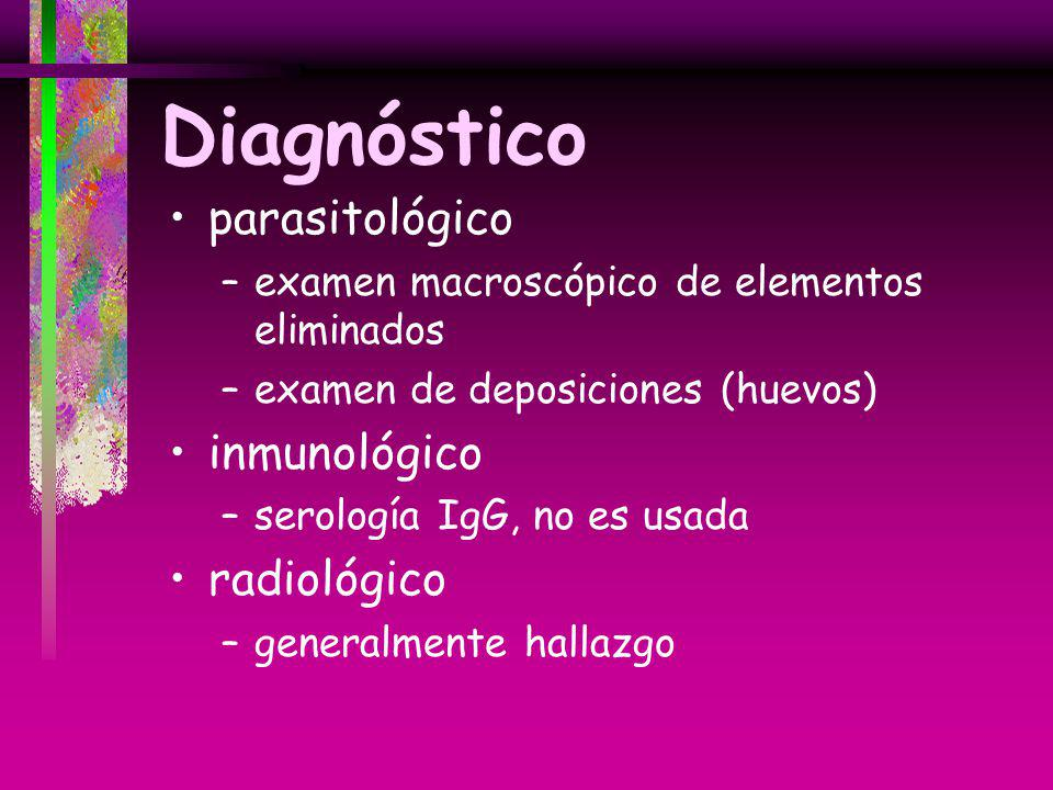 Diagnóstico parasitológico inmunológico radiológico