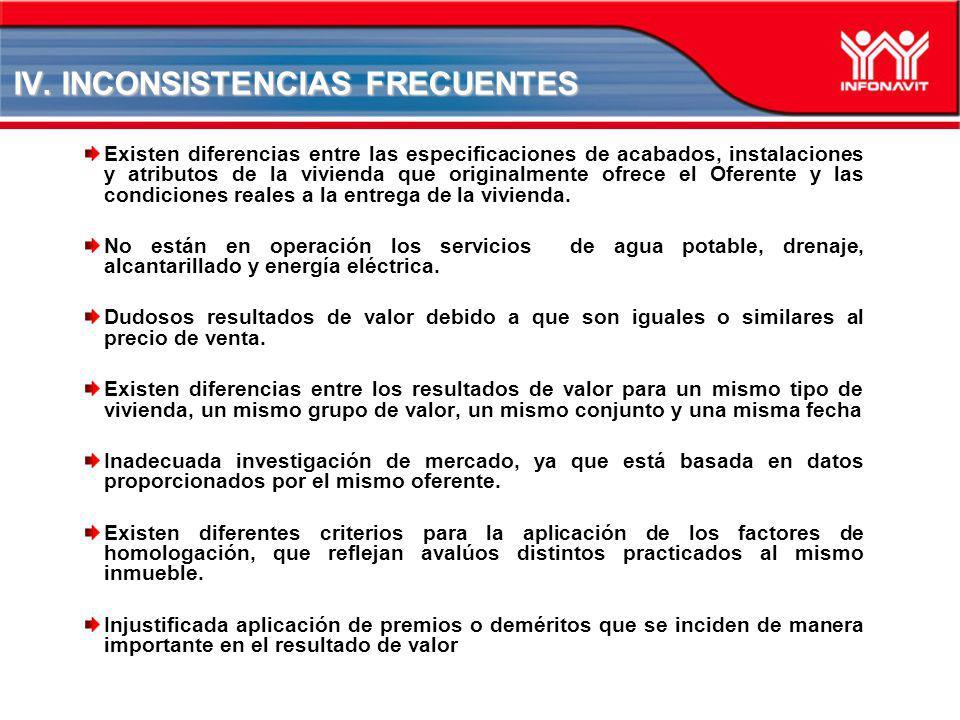 IV. INCONSISTENCIAS FRECUENTES