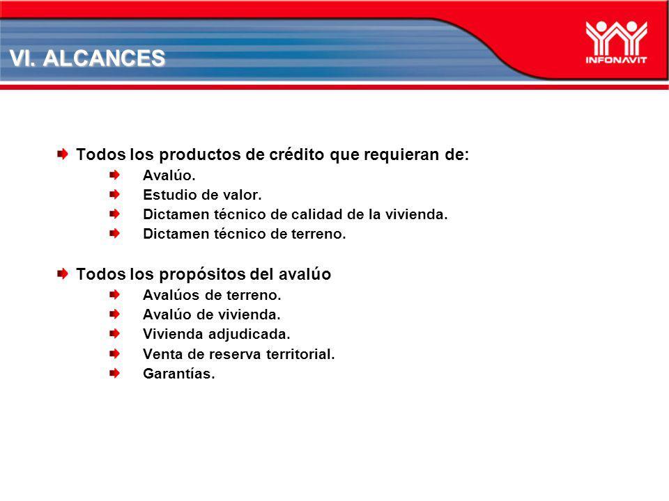 VI. ALCANCES Todos los productos de crédito que requieran de: