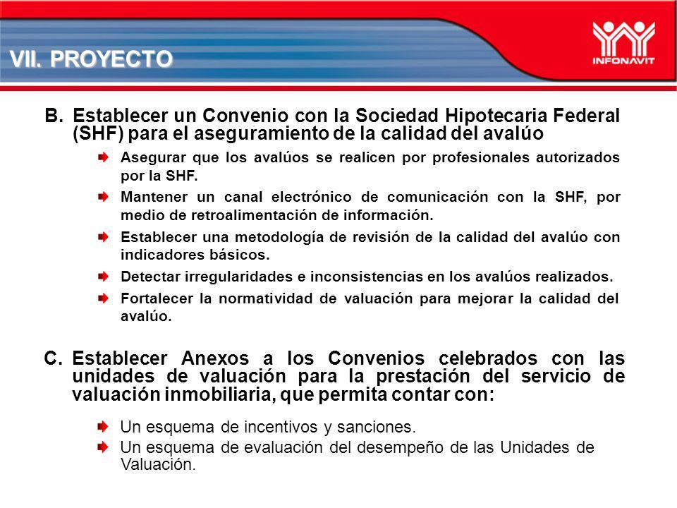 VII. PROYECTO Establecer un Convenio con la Sociedad Hipotecaria Federal (SHF) para el aseguramiento de la calidad del avalúo.