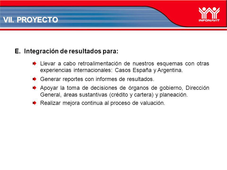VII. PROYECTO Integración de resultados para: