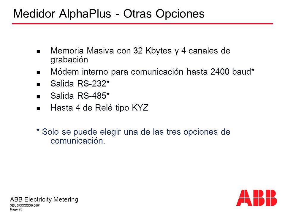 Medidor AlphaPlus - Otras Opciones
