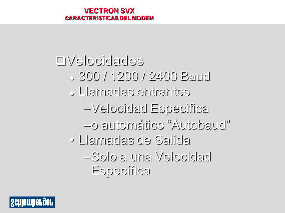 VECTRON SVX cARACTERISTICAS DEL MODEM