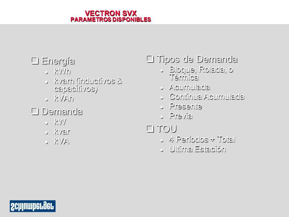 VECTRON SVX PARAMETROS DISPONIBLES