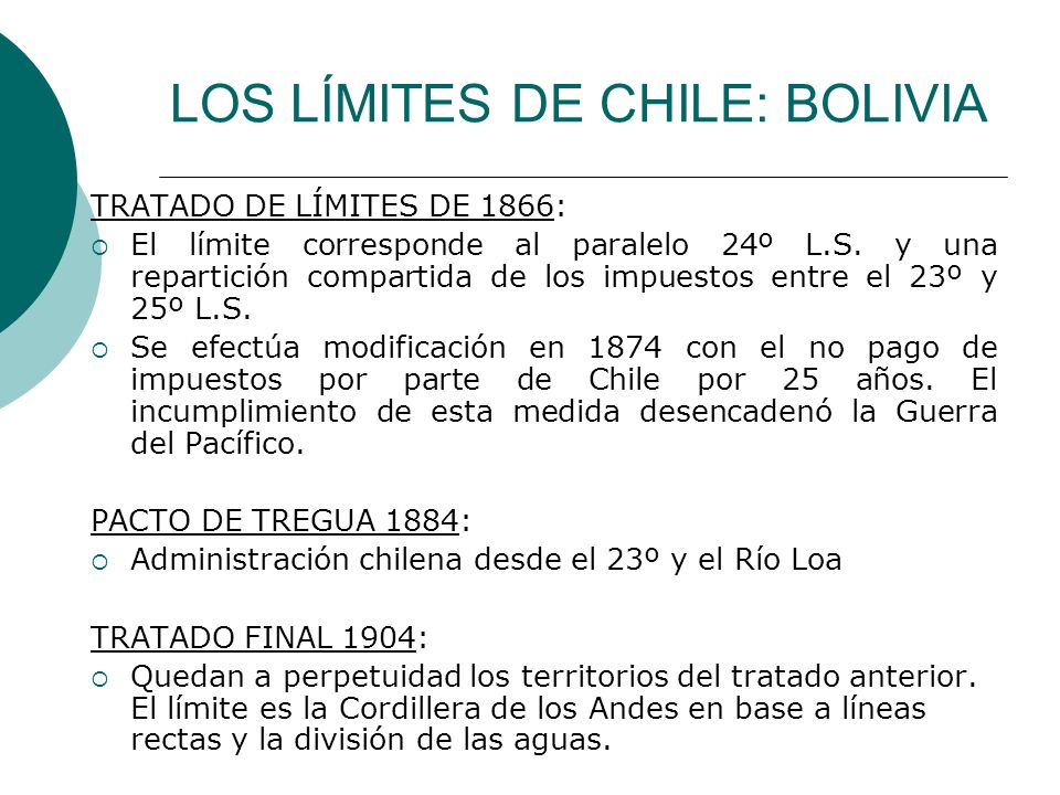 LOS LÍMITES DE CHILE: BOLIVIA