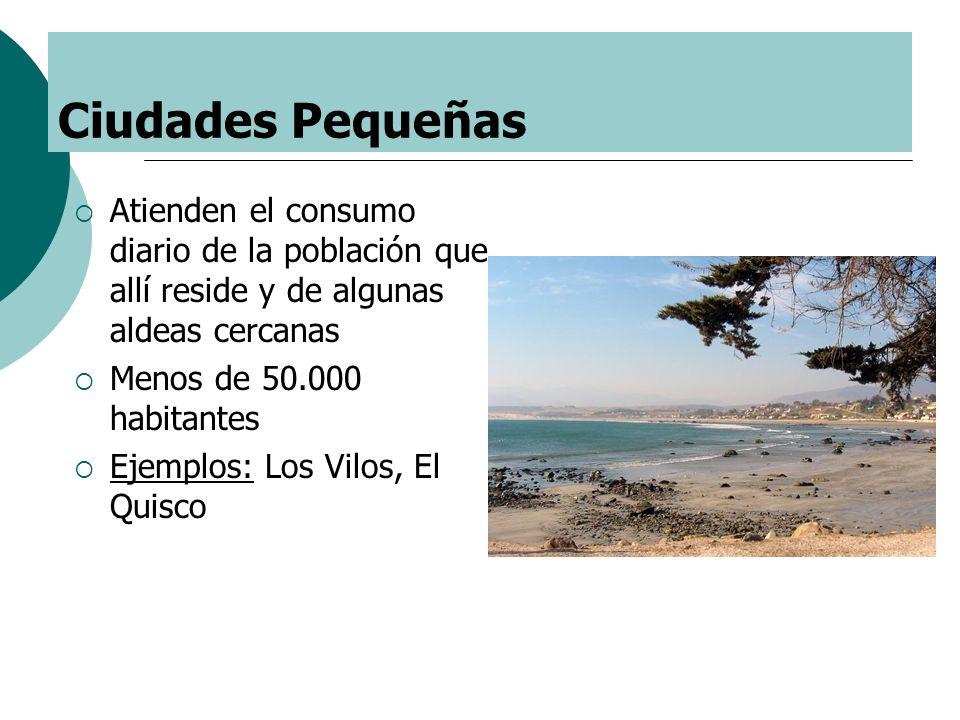 Ciudades Pequeñas Atienden el consumo diario de la población que allí reside y de algunas aldeas cercanas.