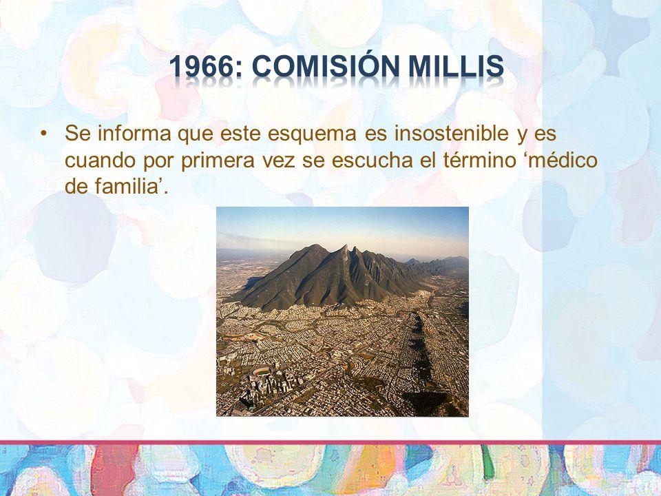 1966: COMISIóN MILLIS Se informa que este esquema es insostenible y es cuando por primera vez se escucha el término 'médico de familia'.