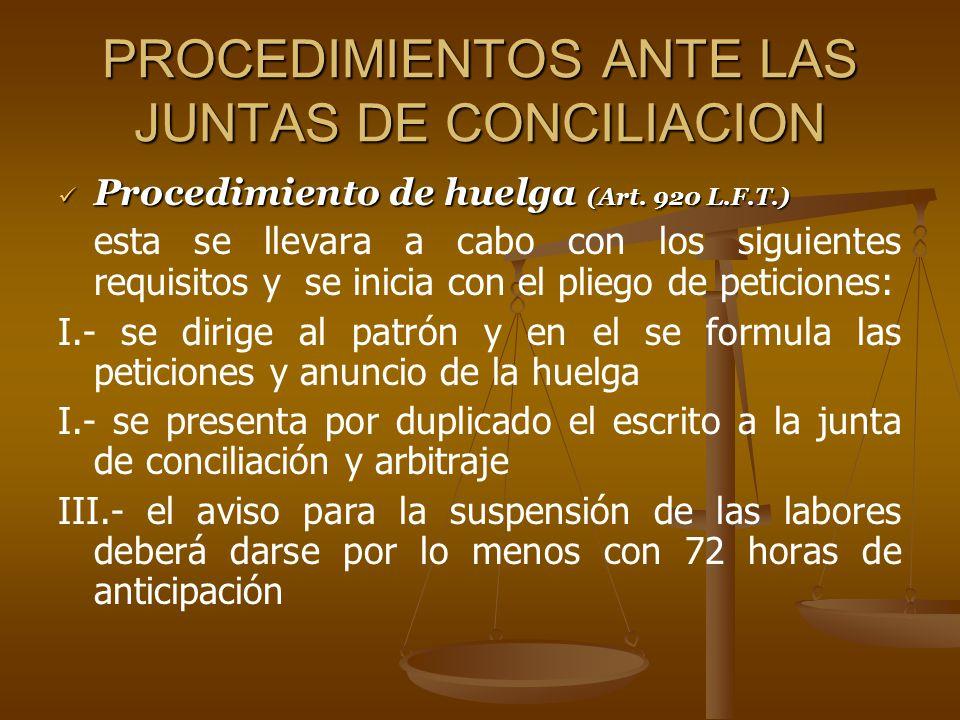 PROCEDIMIENTOS ANTE LAS JUNTAS DE CONCILIACION