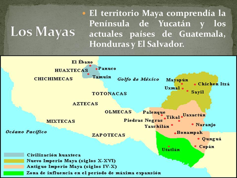 El territorio Maya comprendía la Península de Yucatán y los actuales países de Guatemala, Honduras y El Salvador.