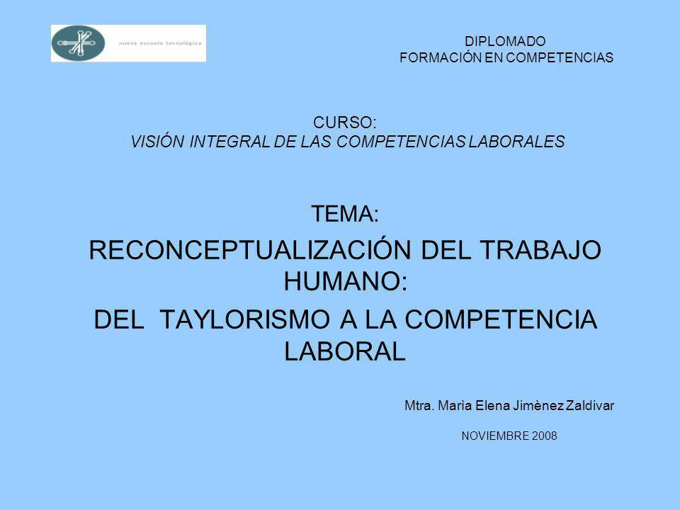 CURSO: VISIÓN INTEGRAL DE LAS COMPETENCIAS LABORALES