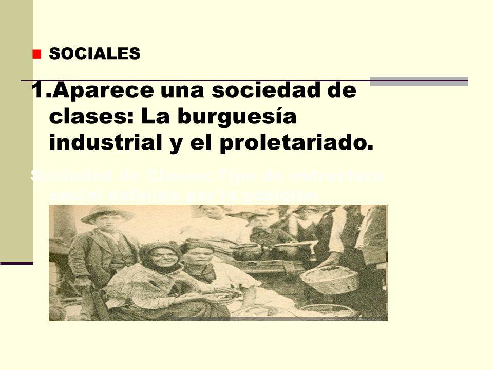 SOCIALESAparece una sociedad de clases: La burguesía industrial y el proletariado.