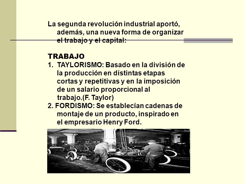La segunda revolución industrial aportó, además, una nueva forma de organizar el trabajo y el capital: