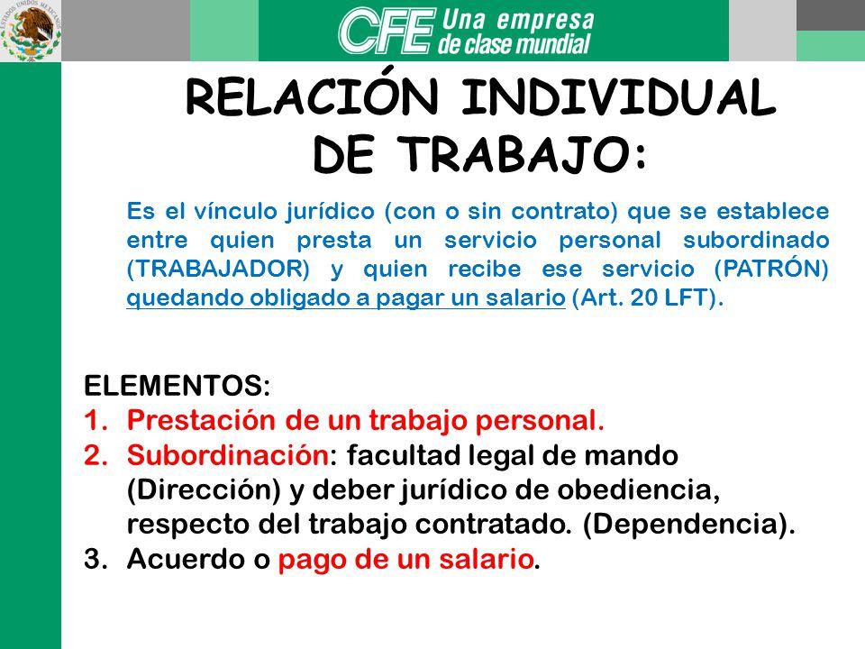 RELACIÓN INDIVIDUAL DE TRABAJO: