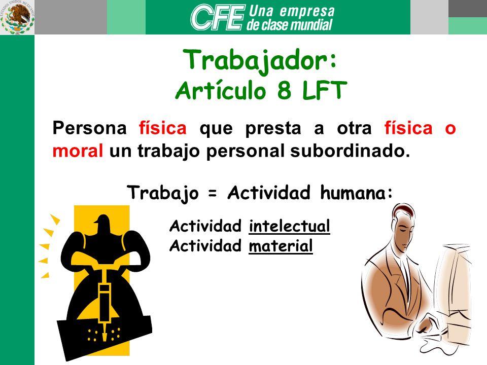 Trabajador: Artículo 8 LFT