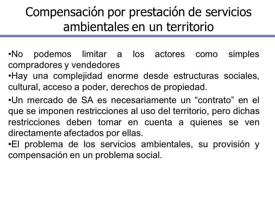 Compensación por prestación de servicios ambientales en un territorio