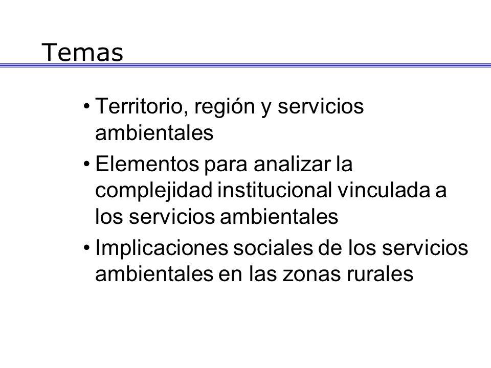 Temas Territorio, región y servicios ambientales