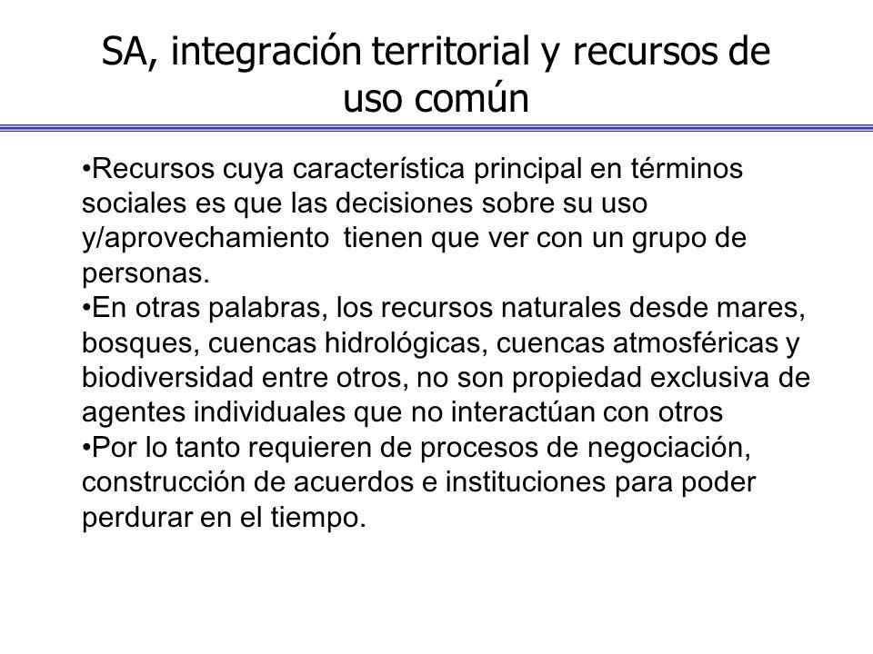 SA, integración territorial y recursos de uso común