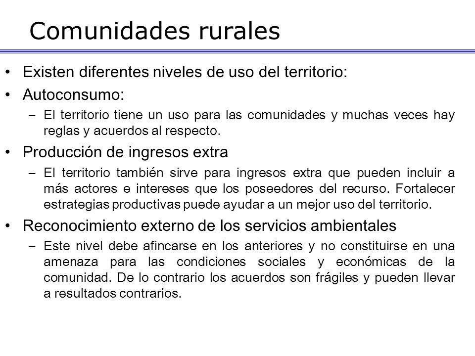 Comunidades rurales Existen diferentes niveles de uso del territorio: