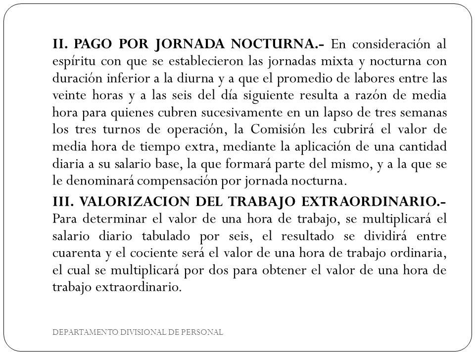 II. PAGO POR JORNADA NOCTURNA