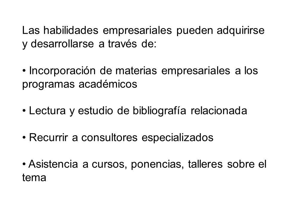 Las habilidades empresariales pueden adquirirse y desarrollarse a través de: