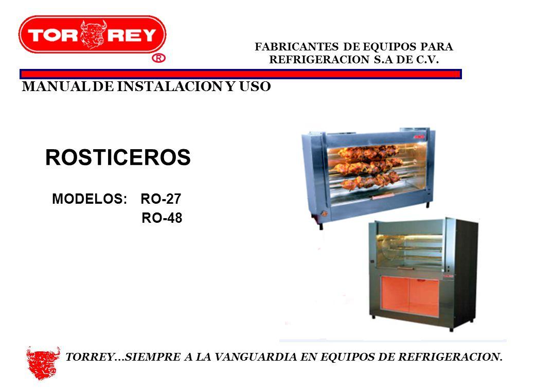 ROSTICEROS MANUAL DE INSTALACION Y USO MODELOS: RO-27 RO-48