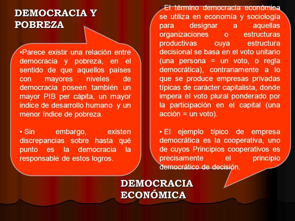 DEMOCRACIA Y POBREZA DEMOCRACIA ECONÓMICA