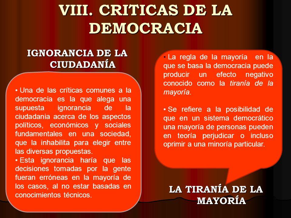 VIII. CRITICAS DE LA DEMOCRACIA