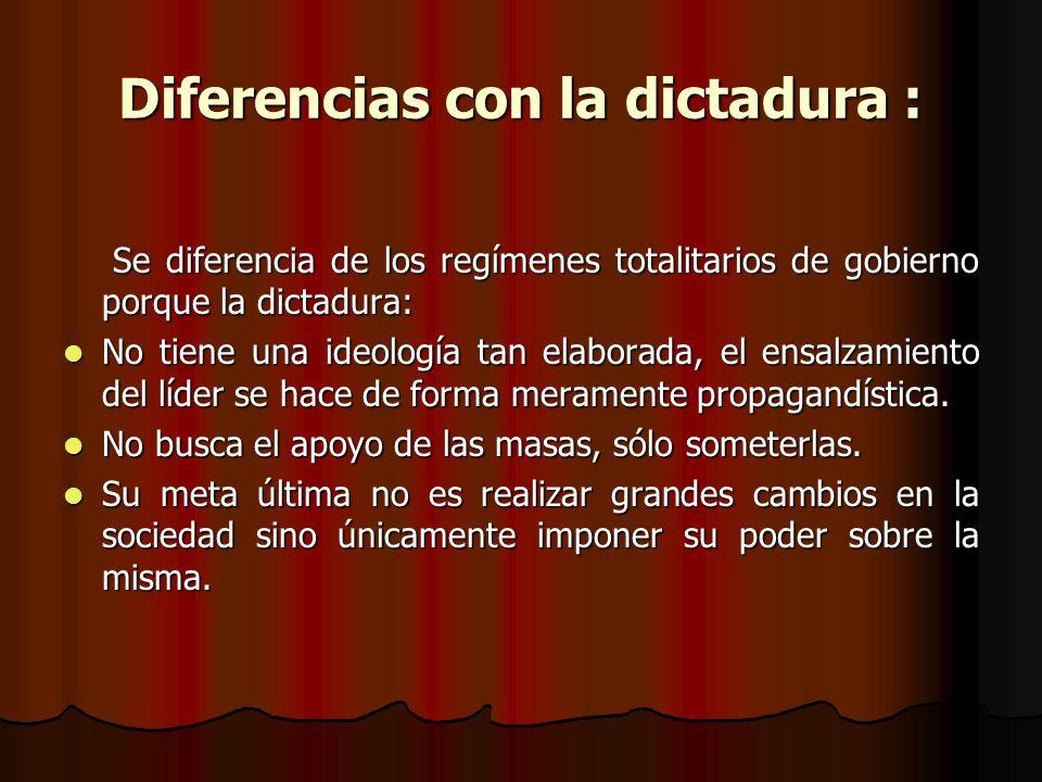 Diferencias con la dictadura :